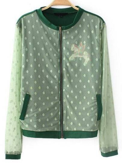 Green Contrast Gauze Long Sleeve Pegasus Print Jacket