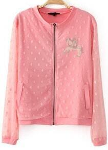 Pink Contrast Gauze Long Sleeve Pegasus Print Jacket