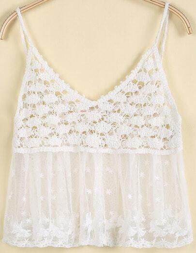 White Spaghetti Strap Hollow Gauze Vest