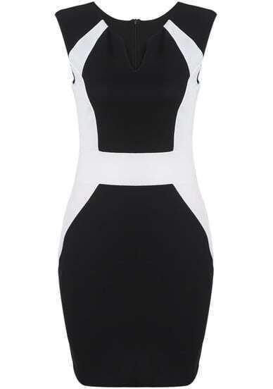Black V Neck Sleeveless Slim Bodycon Dress