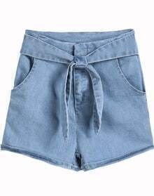 Blue Bow Pockets Denim Shorts