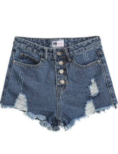 Navy Buttons Ripped Fringe Denim Shorts