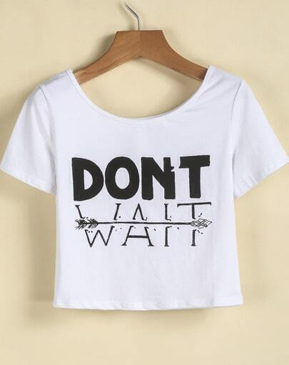 White Short Sleeve DONT WAIT Print Crop T-Shirt