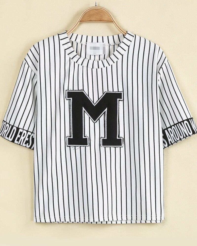 White Short Sleeve Vertical Stripe M Print T-Shirt -SheIn ...