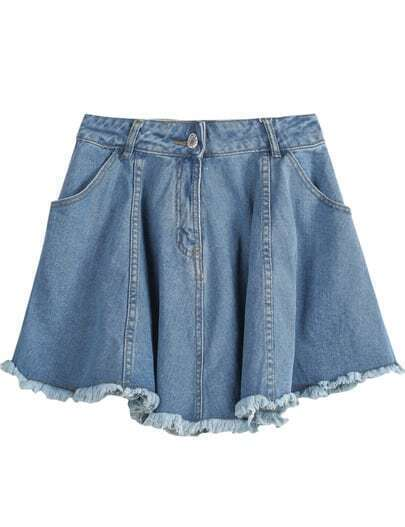 Blue Fringe Pockets Pleated Denim Skirt