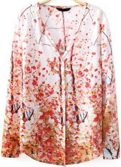 White V Neck Long Sleeve Plum Flower Print Blouse