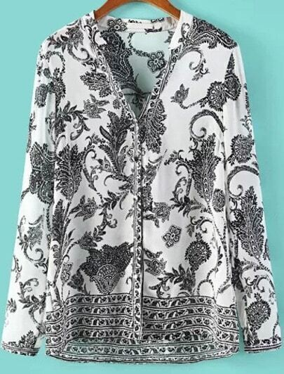 White Black V Neck Long Sleeve Totem Print Blouse