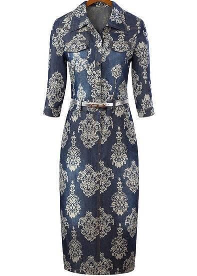 Navy Lapel Half Sleeve Floral Bodycon Dress