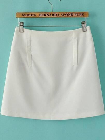 White Pockets Slim Skirt