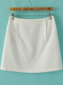 White Pockets Slim Skirt