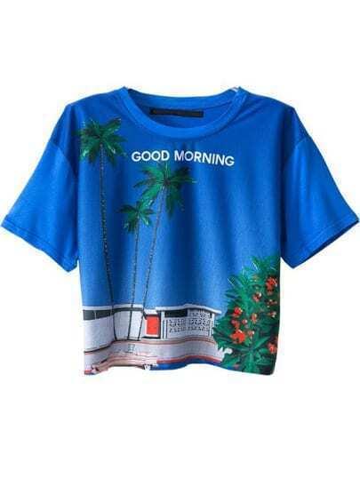 Blue Short Sleeve Coco Print Crop T-Shirt
