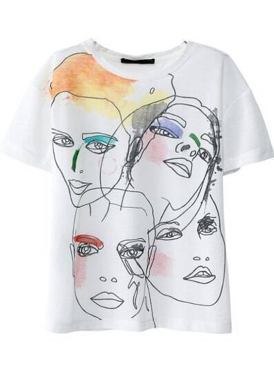 White Short Sleeve Face Print Loose T-Shirt
