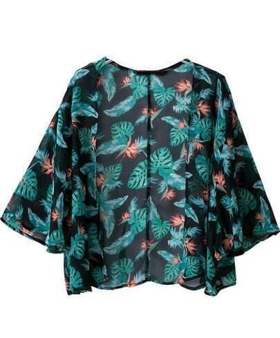 Green Half Sleeve Floral Crop Kimono