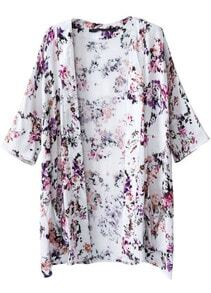 White Half Sleeve Floral Pockets Kimono