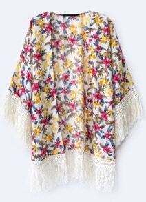 Red Yellow Floral Contrast Tassel Blouse