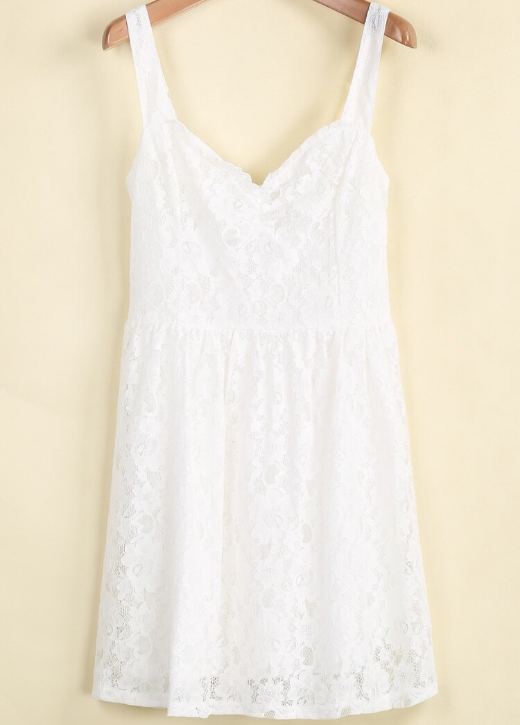 White spaghetti strap embroidered lace dress shein sheinside