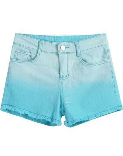 Blue Gradients Pockets Fringe Denim Shorts
