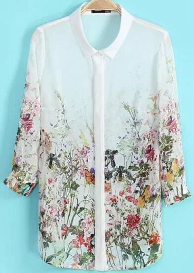 White Long Sleeve Floral Chiffon Loose Blouse