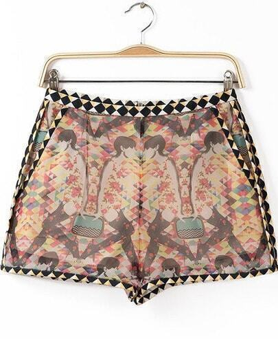 Yellow Vintage Geometric Print Loose Shorts