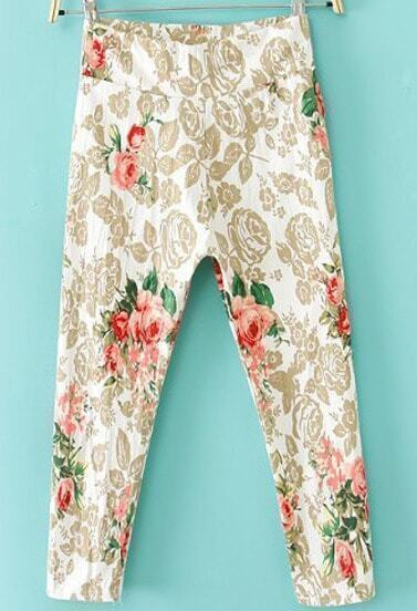 White Elastic Rose Print Crop Pant