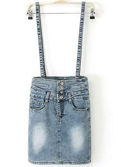 Blue Bleached Pockets Denim Pinafore Skirt