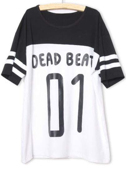 Black White Short Sleeve BEAD BEATS 01 Print T-Shirt -SheIn(Sheinside)