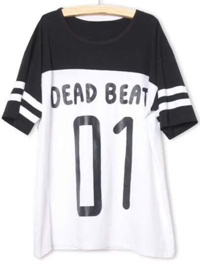 Black White Short Sleeve BEAD BEATS 01 Print T-Shirt