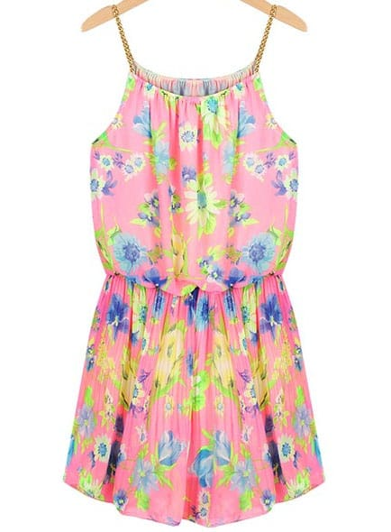 Pink Spaghetti Strap Floral Pleated Chiffon Dress