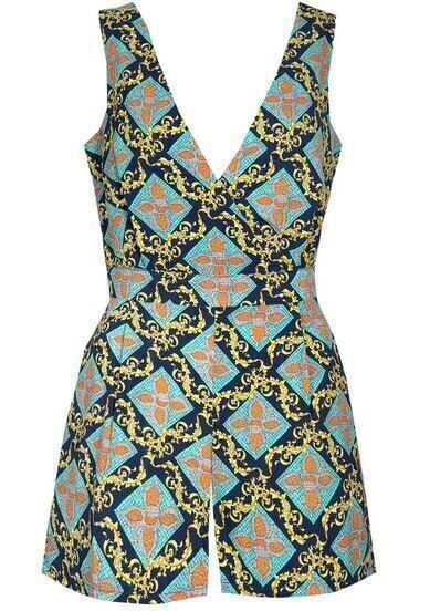 Blue V Neck Sleeveless Vintage Print Jumpsuit