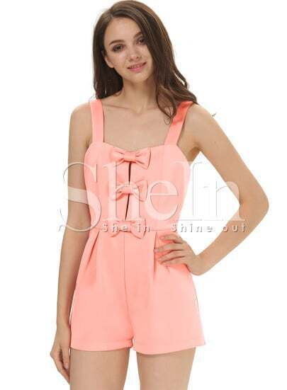 Pink Spaghetti Strap Bow Embellished Jumpsuit