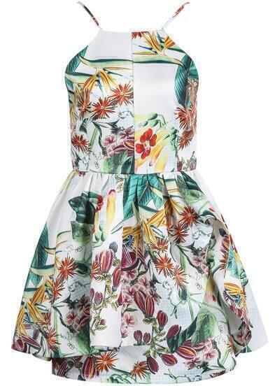 White Spaghetti Strap Floral Flare Dress