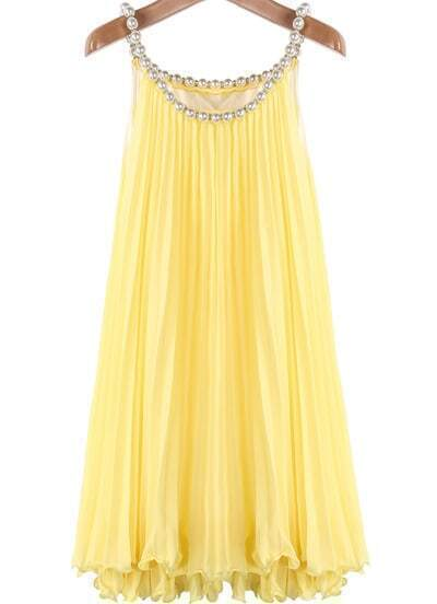 Yellow Bead Pleated Chiffon A Line Dress