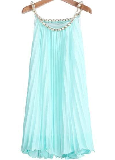 Green Bead Pleated Chiffon A Line Dress