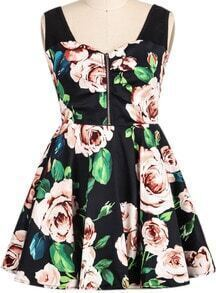 Black Sleeveless Rose Print Flare Dress