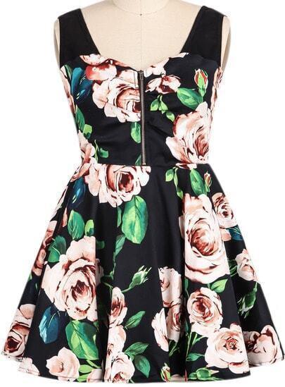 Black Sleeveless Rose Print Flare Dress
