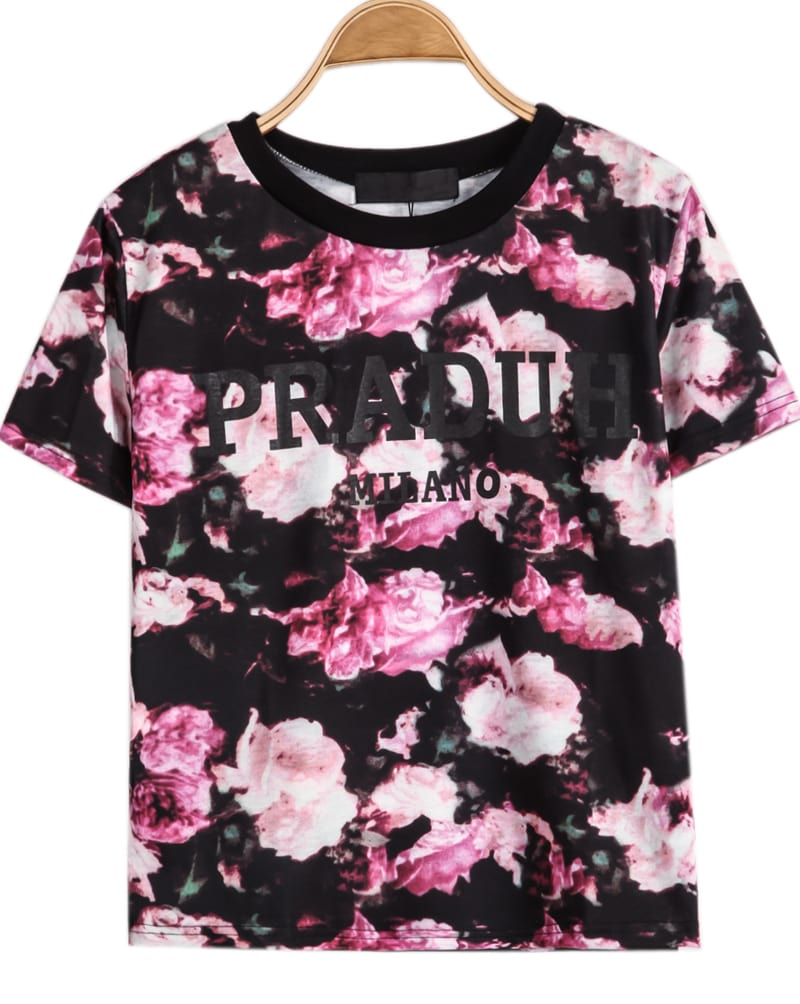 Black short sleeve purple floral praduh print t shirt for Black floral print shirt