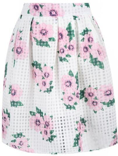 White Zipper Plaid Floral Skirt