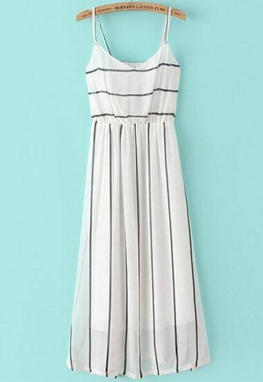 White Spaghetti Strap Striped Slim Dress