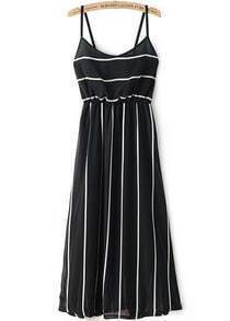 Black Spaghetti Strap Striped Slim Dress