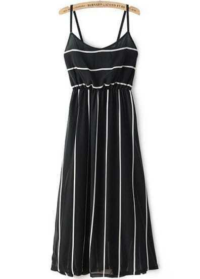 Black Spaghetti Strap Striped Slim Dress