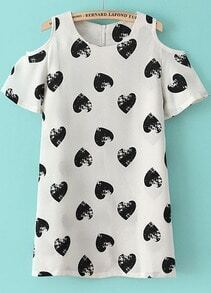 White Off the Shoulder Hearts Print Straight Dress