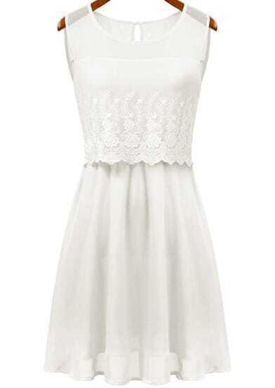 White Round Neck Sleeveless Lace Chiffon Dress