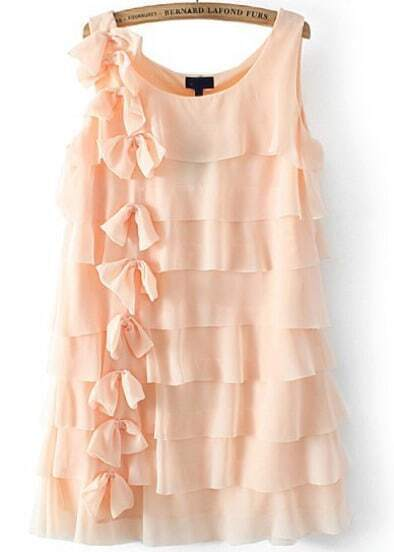 Pink Sleeveless Cascading Ruffle Bow Dress