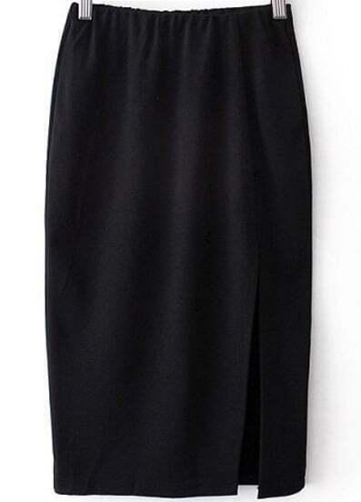 Black Elastic Split Bodycon Skirt