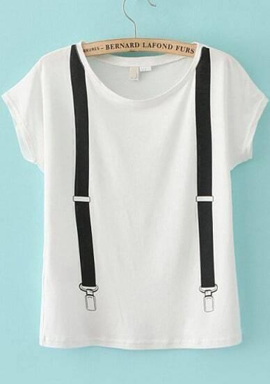 White Short Sleeve Strap Loose T-Shirt