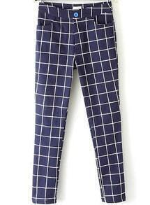 Blue Pockets Plaid Pencil Pant
