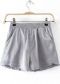 Grey Elastic Waist Pockets Loose Shorts