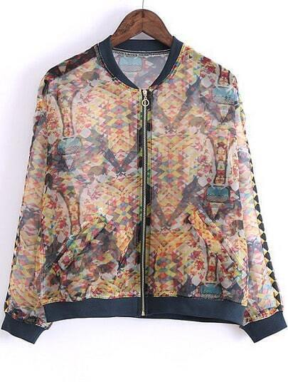 Yellow Long Sleeve Vintage Print Pockets Jacket