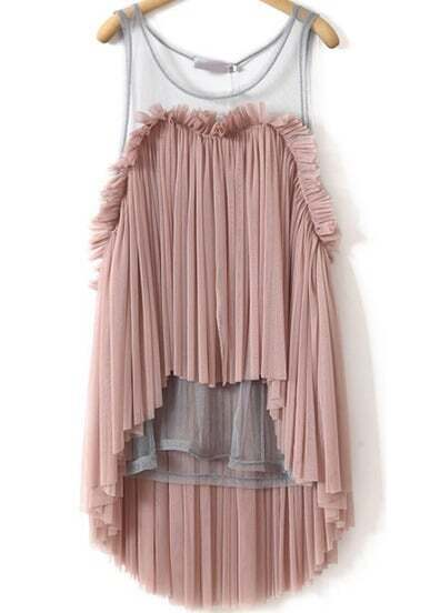 Pink Sleeveless Contrast Sheer Mesh Yoke Pleated Top