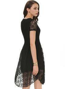 Black Short Sleeve Embroidered Lace Loose Dress